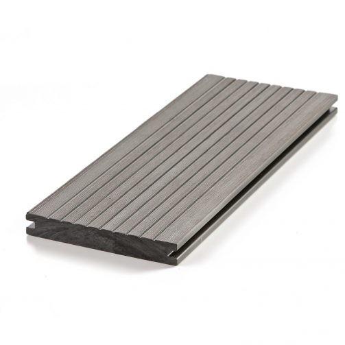 WPC Dielen, Terrassendielen, WPC Terrassenbelag grau geriffelt / glatt günstig online kaufen