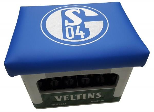 Sitzkissen, Partymöbel, Gartenmöbel, Hocker, Bierkastenaufsatz FC Schalke 04 Kissen blau