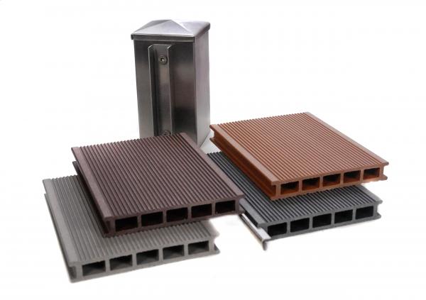 wpc sichtschutz zaun set alu 8 m inkl 5 aluminiumpfosten und 4. Black Bedroom Furniture Sets. Home Design Ideas