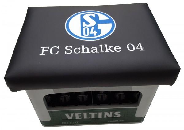 Sitzkissen, Partymöbel, Gartenmöbel, Hocker, Bierkastenaufsatz FC Schalke 04 Kissen schwarz